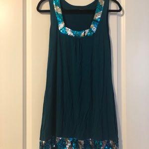 Green, sequin dress